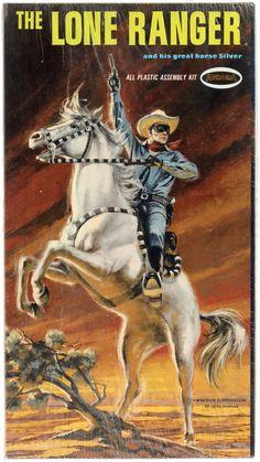 Box art for Aurora's Lone Ranger model kit Vintage Toys 1960s, Retro Toys, Western Comics, Western Art, Alternative Comics, The Lone Ranger, Plastic Model Kits, Plastic Models, Old Comics