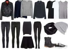 A very black wardrobe for packing light. It's chic and best of all, no worrying about what goes best with what