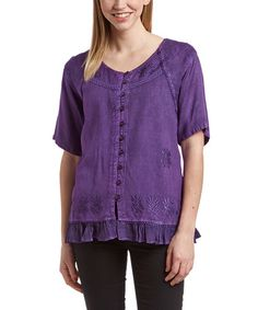 Shabri Fashions Purple Embroidered Scoop Neck Button-Up Top [MSRP $ | N019T99 | SIZE O/S] #zulilyfinds