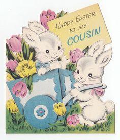 Vintage Greeting Card Easter Cute Bunny Rabbit Cart Die-Cut Norcross