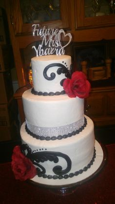 Black, red and silver bridal shower cake
