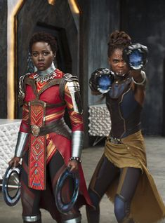 Lupita Nyong'o and Letitia Wright in Marvel Studios 'Black Panther' Black Panther Marvel, Shuri Black Panther, Black Panther 2018, Nakia Black Panther, Marvel Universe, Cosplay, Wakanda Marvel, Black Panther Costume, Panther Pictures