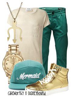 """Cakeworthy x DisneyBound Mermaid Hat"" by leslieakay ❤ liked on Polyvore featuring Jack & Jones, Acne Studios, Karl Lagerfeld, ASOS, women's clothing, women, female, woman, misses and juniors"