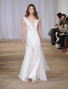 a1c7defae0c9 Ines Di Santo Fall 2016 lace illusion jewel neckline and underlay wedding  dress