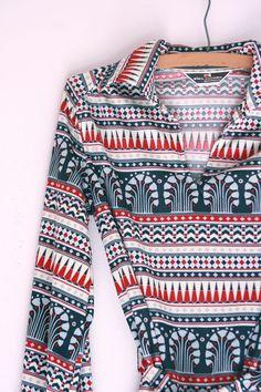 Vintage Alex Colman tunic deco print size by fuzzymama on Etsy