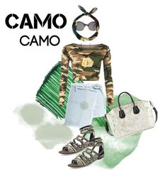 """""""camo camo"""" by siopaonessmuch ❤ liked on Polyvore featuring By Terry, WearAll, Sandy Liang, Illesteva, Yves Saint Laurent, New Look, Charles Jourdan, Zina Kao Exclusives and camostyle"""