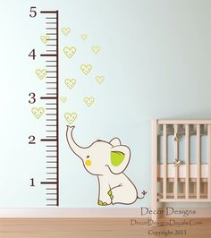 Elephant Growth Chart Printed FabricVinyl Wall Decal Sticker