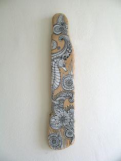 Painted Driftwood Original Art Driftwood Art Boho by GeoJoyful