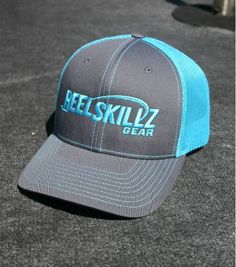 Our Reel Skillz Logo Trucker hats are fully adjustable snap backs. The ventilated mesh back is great for fishing on hot summer days. Fishing Hats, Snap Backs, Caps Hats, Neon, Embroidery, Blue, Clothes, Ideas, Outfits
