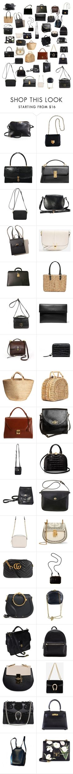 """""""my bag wishlist."""" by abigailshanice ❤ liked on Polyvore featuring The Row, VIcenza, Hermès, Flynn, Mulberry, Topshop, Louis Vuitton, Straw Studios, Marni and Kayu"""