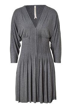 Grey pleat front jersey dress