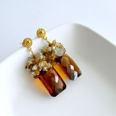 Madeira Citrine Baguettes Hessonite Garnet Aquamarine Natural Zircon Cluster Post Style Earrings - Cornelia Earrings