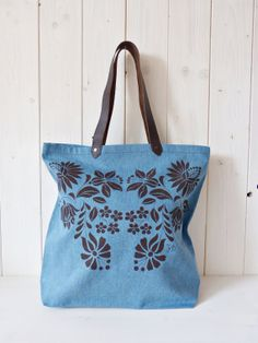 Items similar to cotton screenprinted denim jeans tote bag with genuine brown leather straps, Hungarian folk pattern, Brown -Light Blue on Etsy Denim Tote Bags, Screen Printing, Denim Jeans, Light Blue, Brown, Pattern, Cotton, Leather, Etsy