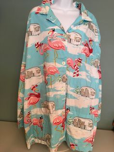 Nick And Nora Pink Flamingos And Airstreams Cotton Pajama Top Size 3XL  | eBay
