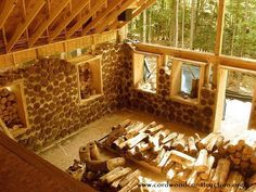 Adam & Erica Konopka and their children, started building a Cordwood Cabin near the shores of Lake Michigan this past summer. The cabin has 24″ thick walls with foam insulation in the cen…