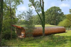 The Fibonacci Tree House in Spain: The organic shape was inspired by the geometry of the 'Fibonacci Spiral'. This is a logarithmic spiral often found in nature, like in a snail's shell. This pattern allows the organism to grow without changing shape. This tree house provides a natural hideaway within the relative cool of the woodland. Fitted with a modern kitchenette, complete with a drinks fridge and wine cooler, this is the perfect place to enjoy a sun downer or entertain friends