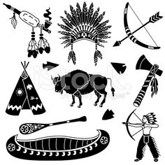 Native American icons royalty-free stock vector art