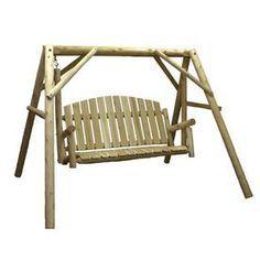 Lakeland Mills 3-Seat Wood Rustic Country Garden Yard Swing Cfu85
