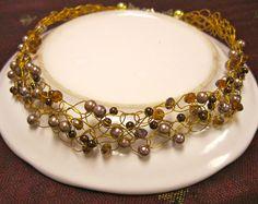 Bronze Crochet .............................  Wire crochet necklace in metallic colors and browns