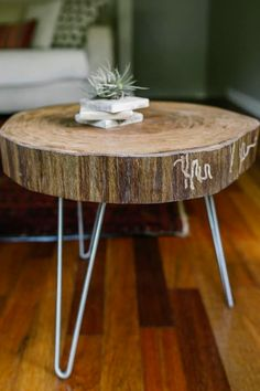 The top of the side table is from Treecycle America, a local tree recycler; the legs are from HairpinLegs.com.