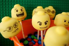 Lego cake pops ~ love the faces!
