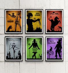 Tim Burton's Collection Movie Poster Set / BeetleJuice, Sleepy Hollow etc. #Minimalism
