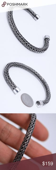 "Beautiful Sterling Silver Rope Bracelet Stamped ""Mex 925"". Size: 7 Inches (adjustable). Band width: .5mm.   Sterling silver is an alloy of silver containing 92.5% by mass of silver and 7.5% by mass of other mThe sterling silver standard has a minimum millesimal fineness of 925.   All my jewelry is solid sterling silver. I do not plate.   Hand crafted in Taxco, Mexico.  Will ship within 2 days Jewelry Bracelets"
