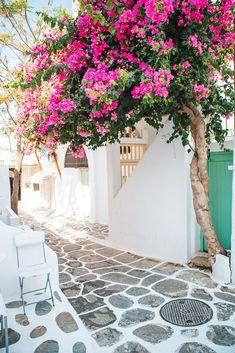 Mykonos, Greece Balcony, Building Exterior, Beautiful Architecture, Island, Street, Sidewalk, Mykonos Greece, Patio, Outdoor Decor