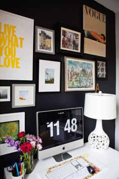I love a dramatic, dark wall, and making it an art gallery just puts the cherry on top. #office #decor