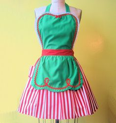CHRISTMAS apron womens full apron in green with red stripes Sants Helper or Elf apron. Etsy.