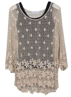 Apricot Long Sleeve Hollow Lace T-Shirt With Black Vest US$33.28