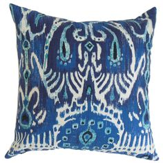 Down pillow with an ikat motif.    Product: PillowConstruction Material: Cotton cover and 95/5 down fillColor: NavyFeatures:  Insert includedHidden zipper closureMade in the USA Cleaning and Care: Spot clean