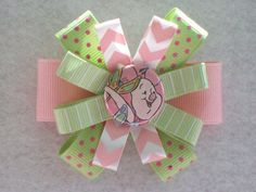 Piglet Winnie the Pooh Pig Mint Green Pink Hair Bow by GmasShop