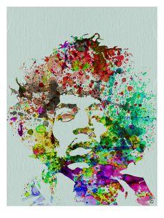 Jimmy Hendricks : portrait à l'aquarelle Posters par NaxArt sur AllPosters.fr