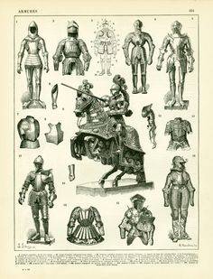 1897 Knight in armor, Large size antique print, Middle ages warrior, Army…