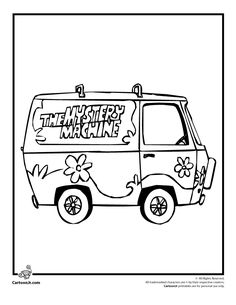 Adult worthy coloring sheets on pinterest dover for Scooby doo mystery machine coloring pages