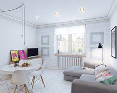 Скандинавский дизайн маленькой квартиры-студии 24 кв. м.