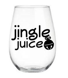 Christmas Wine Glass, Stemless Wine Glass, Personalized Stemless Wine Glass, Jingle Juice Wine Glass, Wine Glass, Holiday Wine Glass by BrownEyedCuties on Etsy