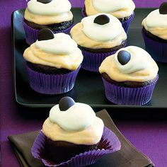 Chocolate Pumpkin Cupcakes by Sunset Magazine. The canned pumpkin in the batter keeps these cupcakes moist, reducing the amount of oil you need to use.