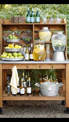 Wedding Registry Advice From Pottery Barn backyard food and drink station ideas from Pottery Barn Buffet Hutch, Food Buffet, Buffet Set, Buffet Tables, Dining Tables, Decoration Originale, Tiered Stand, Garden Parties, Backyard Parties