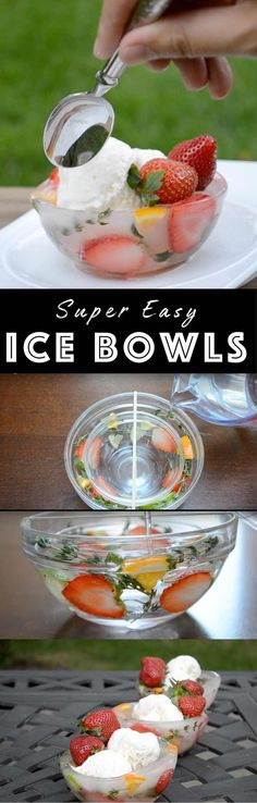 Super Easy Ice Bowls – keep ice cream and food chilled in style! It's so easy to make and you will definitely wow your guests. All you need is two sizes bowls and some fruits! So beautiful! With Video tutorial. | Tipbuzz.com