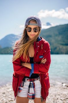 Gal Meets Glam Diablo Lake - Penfield jacket, Current Elliott shirt,  7FAM shorts, Calypso St. Barth tank & Ray Ban sunglasses