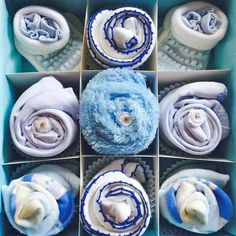 This is a stunning little baby gift for a baby boy. The perfect new baby or baby shower gift. This is so unique as it is also presented in a gorgeous blue keepsake gift box. Contents: x1 Blue keepsake gift box x3 pairs of socks (0-3 or 3-6 or 6-12 months) x2 bodysuits (0-3 or 3-6 or 6-12 months) x2 bibs with velcro fastening x2 pairs of mitts (0-3)* x1 pair of bootees (newborn)* x1 Washcloth x1 Personalised message (Please add your message below)