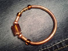 copper pipe bangle with glass beads