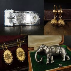 Some Victorian era goodies recently added to the site. All now available at CJAntiquesLtd.com (link in bio). #antiquejewelry #victorian #silver #bangle #gold #pearl #earrings #elephant #brooch #victorianjewelry #jewelryofinstagram