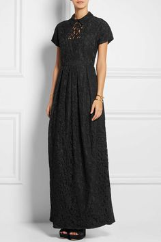 Carven Guipure Lace Gown, Black, Women's, Size: 40