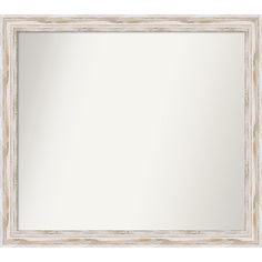 Wall Mirror Choose Your Custom Size - Extra Large, Alexandria White wash Wood (Outer Size: 50 x 34-inch), Ivory Cream