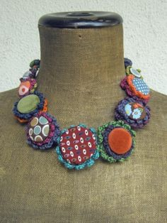 great necklace: crochet and fabric