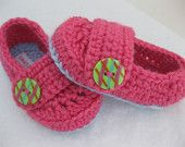 pink crochet baby girl booties / slippers/ shoes.  newborn.  baby shower gift.  A bit of Lovely on Etsy