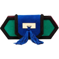 Balmain Killari tassel-embellished suede clutch (10,365 CNY) ❤ liked on Polyvore featuring bags, handbags, clutches, green multi, suede clutches, color block handbag, blue clutches, suede purse and tassel clutches